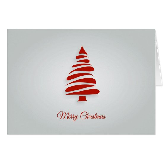 Contemporary, Red Geometric Christmas Tree Card