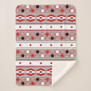Aztec Themed Contemporary red grey and black geometric sherpa blanket