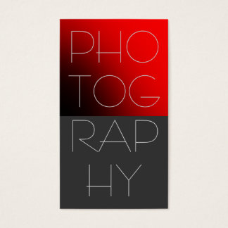 Contemporary Red Grey Photography Business Card
