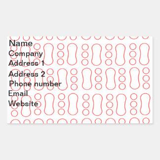 Contemporary red peanut pattern rectangular stickers