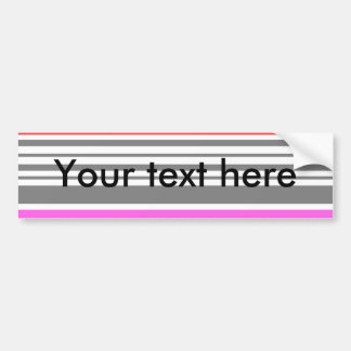 Contemporary red pink and gray stripes car bumper sticker
