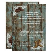 Contemporary Rustic Boots & Lace Wedding Invite