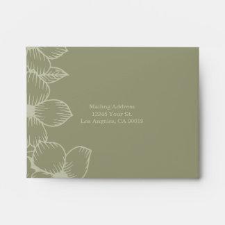 Contemporary Sage Green Floral Wedding Response Envelope