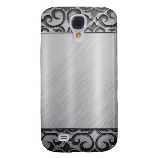Contemporary Silver Metallic Swirl Case Galaxy S4 Cases