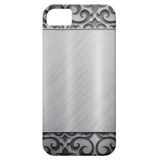Contemporary Silver Metallic Swirl Case iPhone 5 Cases