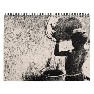 Contemporary Sketched African Graphic Pin Art Calendar