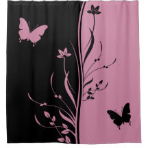Black And Pink Shower Curtains | Zazzle
