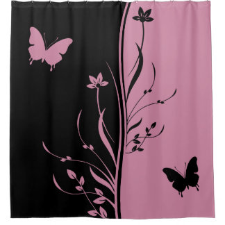 striking black and cashmere rose pink shower curtain