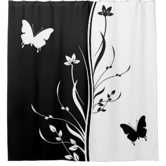 Contemporary striking Black and white nature inspi Shower Curtain