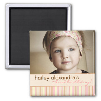 Contemporary Stripe Birthday Photo Magnet
