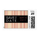 Contemporary Stripe in Rose Save the Date Postage