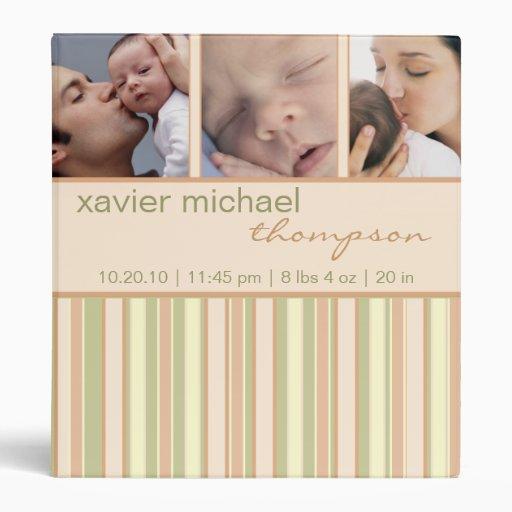Contemporary Stripe in Sage Baby Photo Binder