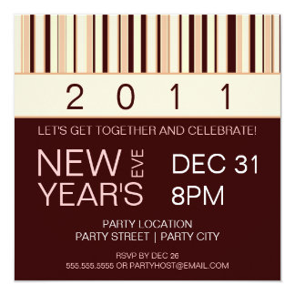 Contemporary Stripe New Years Eve Party Invitation