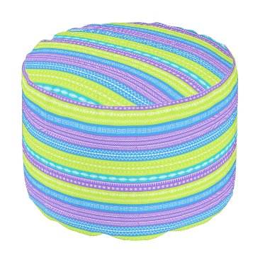 Aztec Themed Contemporary striped design with sewing patterns pouf