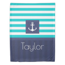 Contemporary Striped Pattern Anchor Personalized Duvet Cover