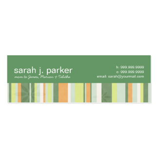 Contemporary Stripes Mommy Calling Card Business Card Templates