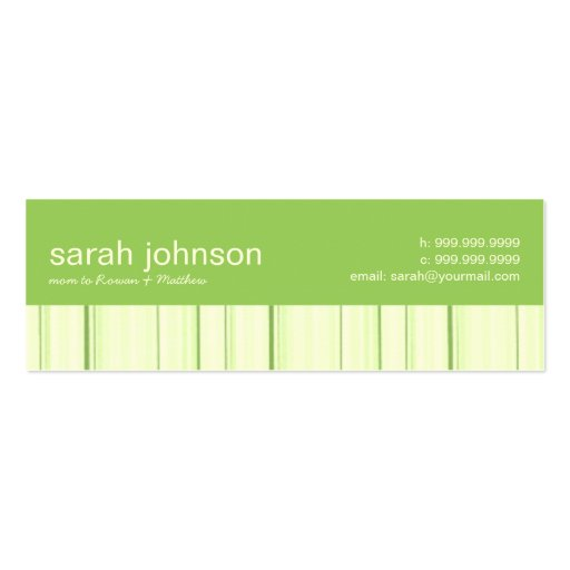 Contemporary Stripes Mommy Calling Card Business Card Template