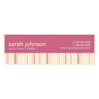Contemporary Stripes Mommy Calling Card Double-Sided Mini Business Cards (Pack Of 20)