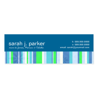 Contemporary Stripes Mommy Calling Cards Double-Sided Mini Business Cards (Pack Of 20)