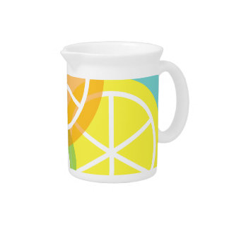 Contemporary Summer Citrus Teal Background Pitcher