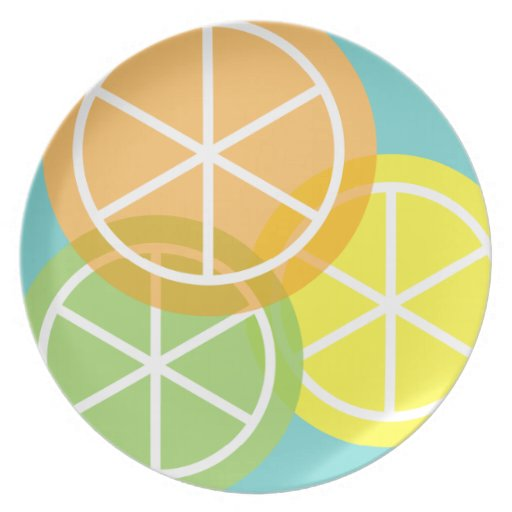 Contemporary Summer Citrus Teal Background Dinner Plate