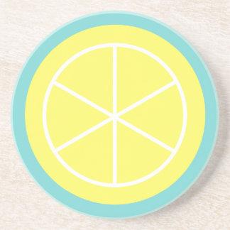 Contemporary Summer Citrus / Teal / Lemon Florida Drink Coaster