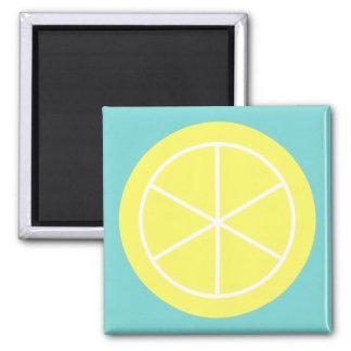 Contemporary Summer Citrus / Teal / Lemon Florida 2 Inch Square Magnet