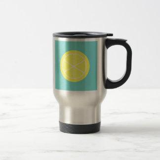 Contemporary Summer Citrus / Teal / Lemon Florida 15 Oz Stainless Steel Travel Mug