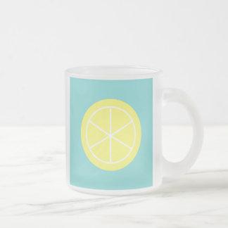 Contemporary Summer Citrus / Teal / Lemon Florida 10 Oz Frosted Glass Coffee Mug
