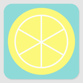 Contemporary Summer Citrus / Teal / Lemon Florida Square Sticker