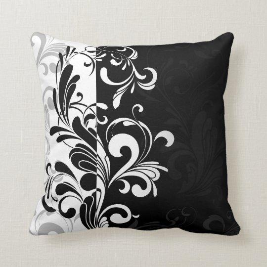 Contemporary Swirl Black and White Throw Cushion