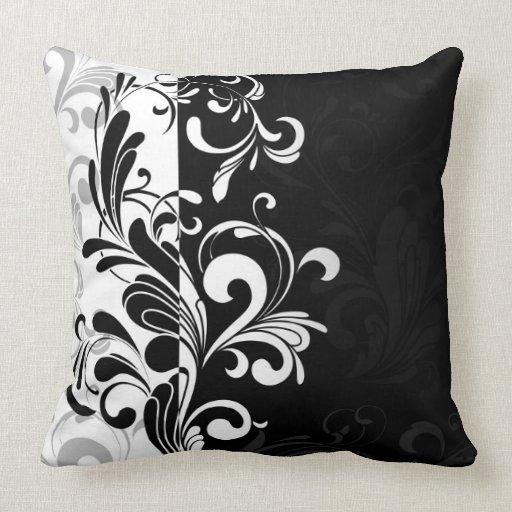 Contemporary Swirl Black and White Throw Cushion Throw Pillow Zazzle