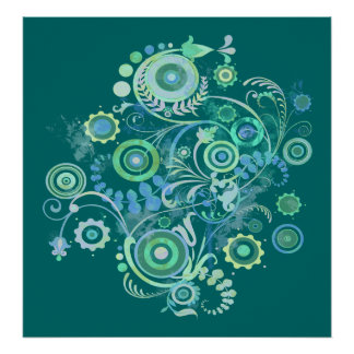 Contemporary Swirls and Flowers Art Poster Print
