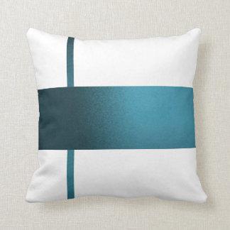 Contemporary Teal Strip White Pillow- Throw Pillow