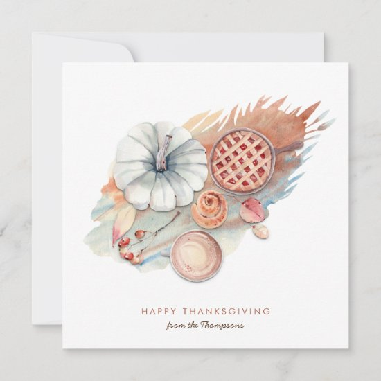Contemporary Thanksgiving Pumpkin Food Leaves Holiday Card