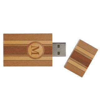 Contemporary three stripe wood wood flash drive