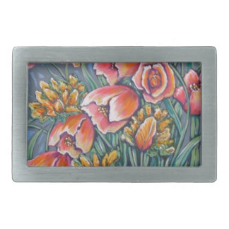 contemporary tulips belt buckles