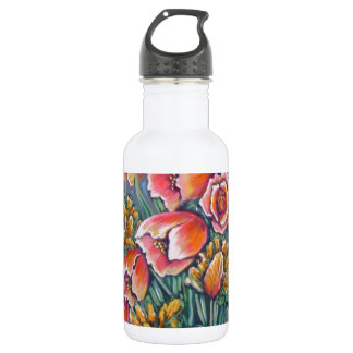 contemporary tulips stainless steel water bottle
