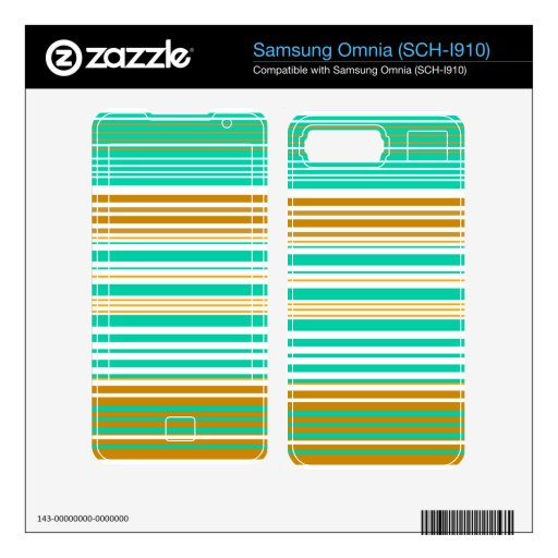 Contemporary turquoise and brown stripes decal for samsung omnia