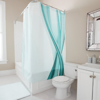 turquoise streamers shower curtain