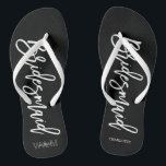 """Contemporary Typography """"Bridesmaid"""" Flip Flops<br><div class=""""desc"""">Personalized Bridal party flip-flops featuring an stylish and trendy script typography. Customize with the bride and groom's monogram, wedding date, and bridesmaid's name for a one of a kind design! Looking for a custom color? No problem! Just send your request to heartlockedstudio at gmail dot com and we'll get back...</div>"""