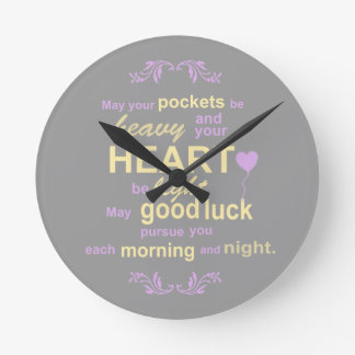 Contemporary Typography Irish Blessing in Gray Wall Clock