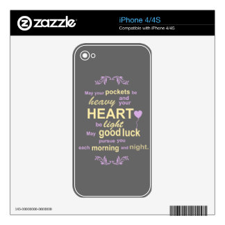 Contemporary Typography Irish Blessing in Gray iPhone 4S Decal