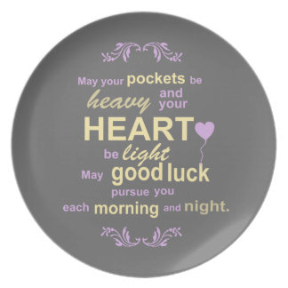 Contemporary Typography Irish Blessing in Gray Melamine Plate