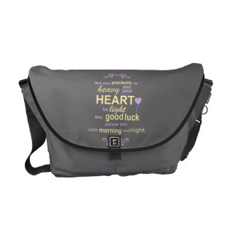 Contemporary Typography Irish Blessing in Gray Messenger Bag
