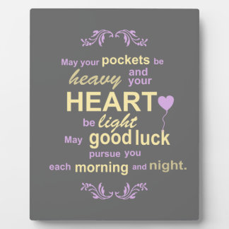 Contemporary Typography Irish Blessing in Gray Photo Plaque