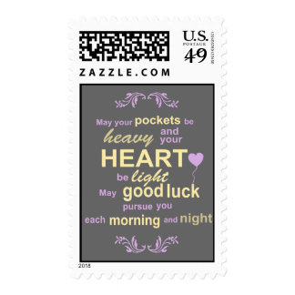 Contemporary Typography Irish Blessing in Gray Postage Stamp