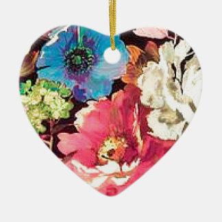 Contemporary Vintage Floral Print Design Ceramic Ornament