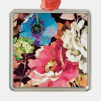 Contemporary Vintage Floral Print Design Metal Ornament