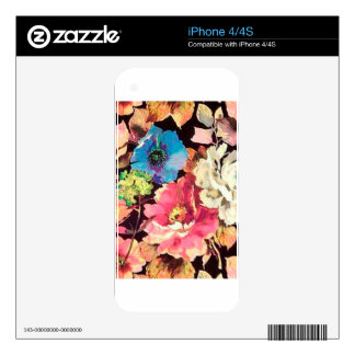 Contemporary Vintage Floral Print Design Skin For iPhone 4